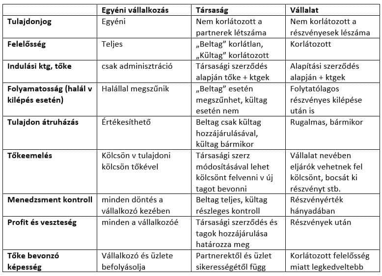 jogi szervezeti formák előnyei és hátrányai
